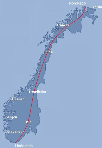 kart lindesnes Nordkapp til Lindesnes på 7 dagar